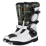 WERT Botas de Moto Armadura de Carreras a Prueba de Agua Botas de Motocross de Alta Resistencia en Carretera Botas cómodas de Tobillo largas Botas de Montar de Motocicleta Gruesas y cálidas,White-42