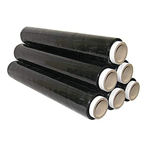 6 Rollos 1,5 kg Stretch pantalla negro 125 m longitud 23 my ancho 50 cm Top calidad