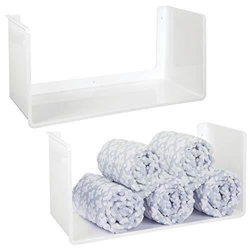 mDesign Juego de 2 estantes colgantes – Práctica estantería flotante para colgar en todos los cuartos – Organizador de pared en plástico resistente – blanco