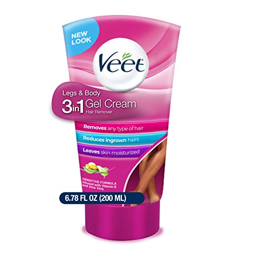 Veet Legs & Body 3 in 1 Gel Cream Hair Remover 6.78 oz. Sensitive Skin Formula, Infused with Aloe Vera and Vitamin E. Reduces Ingrown Hair and Moisturizes Skin. Removes All Hair Types (Pack of 1)