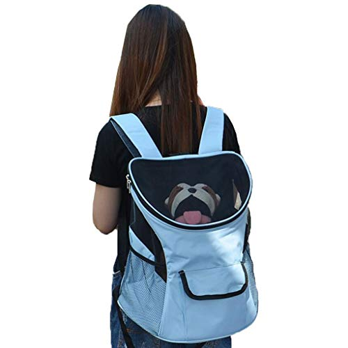 YULAN Portable Pet Box Breathable Cage Cat Dog Backpack Travel Transport Car Out Of Consignment Multicolor (Color : Blue)
