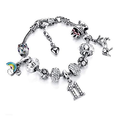TIANYOU Pulsera Io 20 cm Encantos Ajustables Bangle Bangle Flower Beads para Las Mujeres Regalo de la Niña con la Cadena de Serpiente Plateada Cadena de la Cadena de Adolescentes