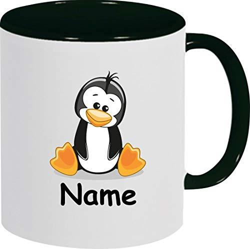 Shirtinstyle Kindertasse, Teetasse, Tasse, Pinguin mit Wunschnamen, Wunschtext, Spruch, Kinder, Tiere, Natur, Kaffeetasse, Pott, Becher, Farbe schwarz