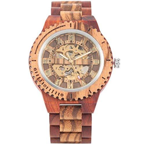 ShenMiDeTieChui Holzrohr, Retro Holzuhr Holzuhr Romano Romano Mecánico Relojes Brazalete de Hombre Hecho de Madera (Color : C)