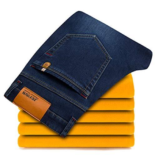 Guapo Jeans Vaqueros Pantalon Pantalones Vaqueros Cálidos De Invierno para Hombre, Estilo Clásico, Mezclilla Gruesa, Pan