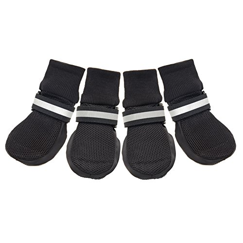 HiPaw Breathable Mesh Dog Boots for Smmer Hot Pavement Nonslip Rubber Sole Paw Protector Black XL