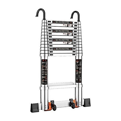 MAG.AL Telescópico Desván Escalera Aluminio Extensión Escalera con Ruedas Portátil Extensible Extensión Paso ático Escalera para Multiusos, 150 kg de Capacidad,4.6M