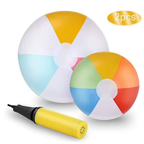Ucradle Rainbow Aufblasbarer Wasserball / Strandball - 2PCS Aufblasbare Beach Ball Pool Spielzeug, für den Pool, Strand, Sommerpartys, Geschenke und Dekorationen