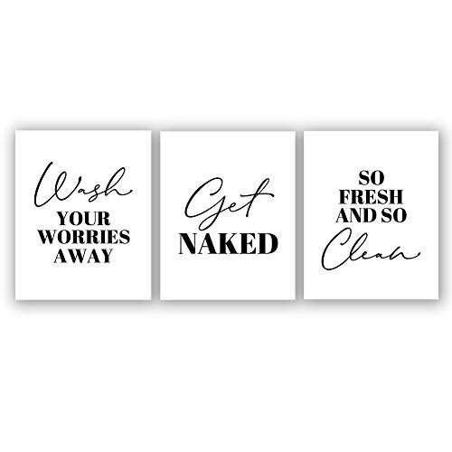 Creative Laundry Room Art Print Set of 3 8X10 Canvas Painting,Inspirational Phrases Wall Art Poster for Kids Bathroom or Washroom Minimalist Home Decor,No Frame
