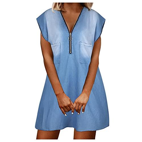 Women Elegant Casual V-Neck Zip Solid Color Short Sleeve Mini Denim...