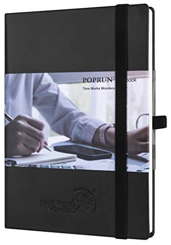 POPRUN Cuaderno de Rayas A5 - Libreta con Tapa Dura de Cuero con Papel Crema 120gsm, 155 Páginas Numeradas, Negro