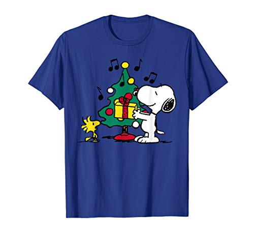 PSnoopy and Woodstock Holiday Christmas Tree T-shirt, Adult, Youth