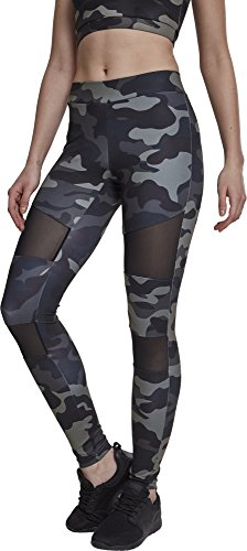 Urban Classics Damen Ladies Tech Mesh Leggings, darkcamo/blk, XS