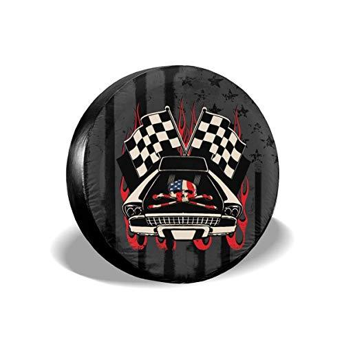 LYMT Cubierta de llanta de refacción Retro Racing Skeleton American Flag Cubierta de neumático de Rueda de Repuesto Universal para Remolque RV SUV 14-17inch