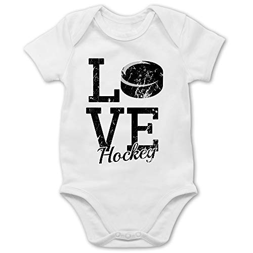Sport Baby - Love Hockey - 3/6 Monate - Weiß - Eishockey - BZ10 - Baby Body Kurzarm für Jungen und Mädchen