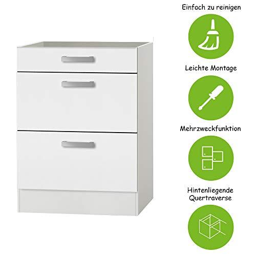 MMR Auszug-Unterschrank Küche DALLAS, ohne Arbeitsplatte, 1 Schublade, 2 Auszüge, 60 cm breit, Weiß