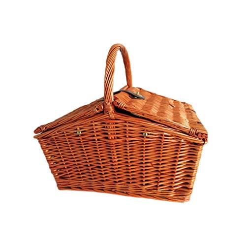 Camping-Picknicktasche im Freien Pastoralen Stil Handgewebte Rattan Deckel Picknickkörbe Korb Kühltasche Antike Reise Camping Shopping Lagerung Geschenk Körbe