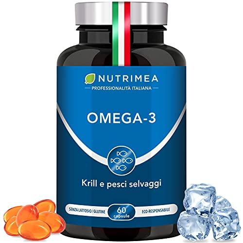 Omega 3 Krill Olio di Pesce | 1000 mg Olio di Sardine e Olio di Krill | 480 mg di EPA DHA | 60 capsule | Pesci Selvatici derivati da Pesca Sostenibile