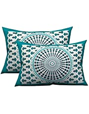 Jaipur Pride Floral Printed Cotton Pillow Cover (Pink)