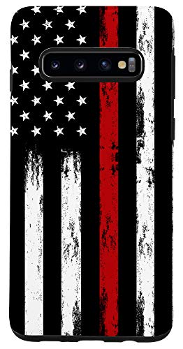 Galaxy S10 Fireman USA Flag Phone Case Thin Red Line US Firefighter Case