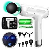 Massage Gun Muscle Neck Back Shoulder Massager- Handheld Deep Tissue Percussion Massager, Rechargeable Powerful Massager with 7 Massage Head Attachments & Portable Bag(White)