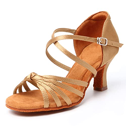HRYOL Zapatos de Baile Latino Mujer Salsa Zapatos Baile de Salon Modelo-WH001...