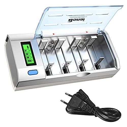 BONAI Batteria Ricaricabili AA/AAA/9V/D/C Caricabatterie Con Display LCD Retroilluminato Caricatore Batterie Ni-Cd Ni-MH