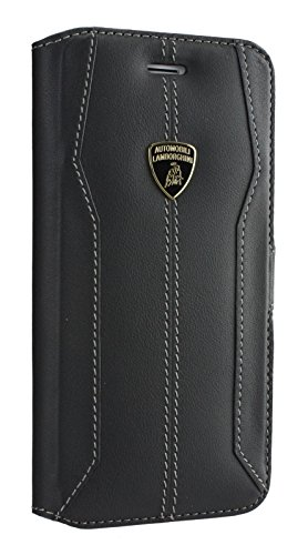 Original Lamborghini Huracan piel iPhone 6/6S/6plus/7/7plusback funda tipo libro todos los colores, piel sintética, Book Black, iPhone 7
