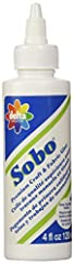 All-purpose white glue is nontoxic, odorless and dries clear It is recommended for porous and semi-porous materials, including paper, wood, ceramics, leather, chenille, beads, sequins and feathers. Make craft projects easy and mess free with Sobo(R) ...