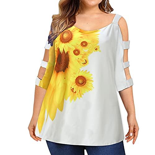 YANFANG Blusa Estampada Suelta Talla Grande para Mujer,Blusas De Mujer Verano Elegantes Camisetas T Shirt Estampado Top Casual,Blanco,L