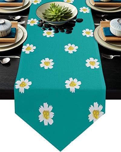 COMMER Camino de mesa, diseño de margaritas blancas, decoración de mesa para bodas, ceremonias de graduación/banquete (33 x 228 cm)