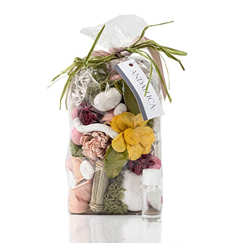 ANDALUCA Secrets of Spring Scented Potpourri | Made in California | Large 20 oz Bag + Fragrance Vial | Notes of Citron, Jasmine and Soft Woods | Floral Spring Home Fragrance