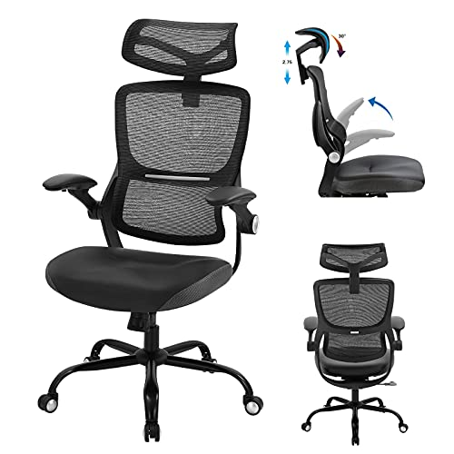 Office Chair Ergonomic, Mesh Executive Chair High Back Big and Tall Computer Desk Chair with Lumbar Support Adjustable Arms Headrest Swivel Rolling Task Chair for Conference Home Office Adults