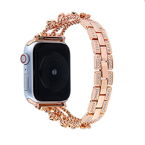 Correa de diamantes para Apple Watch 6 5 43 2 1 Aleación de zinc metal mujer correa de reloj regalo para niñas