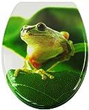 Sareno WC Sitz mit Absenkautomatik Duroplast Klodeckel Toilettendeckel Toilettensitz, Motiv:Frosch auf Blatt, Absenkautomatik:mit Absenkautomatik