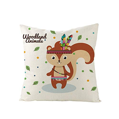 Funda de Cojines Cuadrada Ardilla Animal De Dibujos Animados Cushion Covers Fundas de Almohada Funda Cojin Lino/Terciopelo melocotón Sofá Cama Sillas Cojín Decoracion para Hogar Almohada para 45x45cm