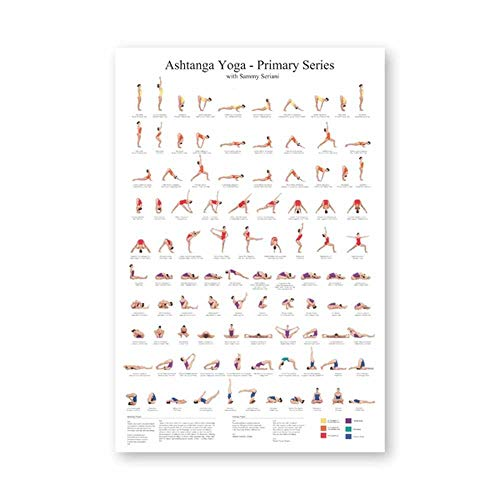 NOBRAND Ashtanga Primary Series Yoga Poster Canvas Art Prints Yoga Room Wall Art Decor Girls Fitness Gifts Gym 60x90cm, sin Marco