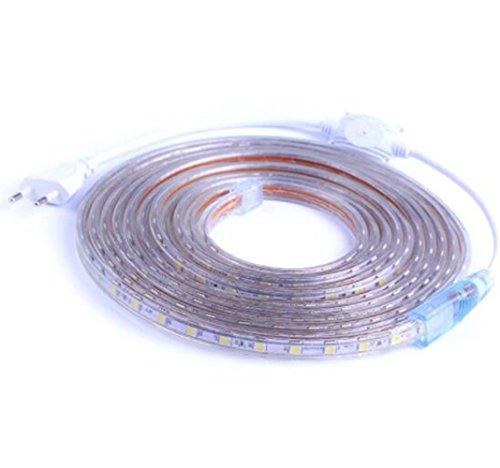 Ruban à LED avec Prise 220V 5050 étanche IP65 flexible sécable 60pcs LED/chaque mètre (Blanc chaud, 6 mètres)