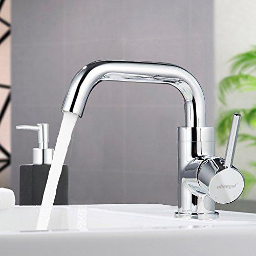 ubeegol 360° drehbar Wasserhahn Bad Messing Chrom Waschtischarmatur Waschbeckenarmatur Badarmatur Waschbecken Mischbatterie