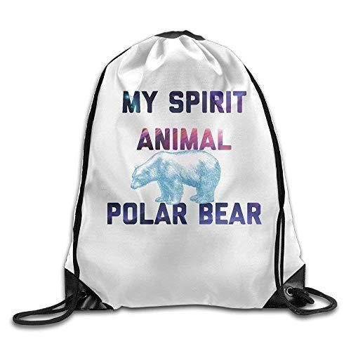 ARRISLIFE Reisepaket Rucksack,Schultertaschen,Kordelzug Trainer Tasche,Schulrucksack,Sporttasche,My Spirit Animal Polar Bear Tote Sack Cinch Bag