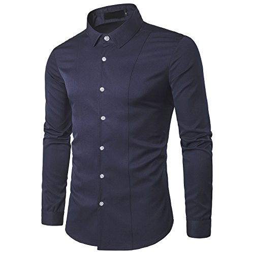 d.Stil - Camisa de manga larga para hombre, ajustada y fácil de planchar, para negocios, ocios azul marino XL