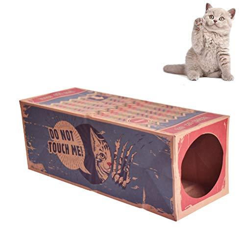 Oyria Faltbares Kraftpapier Katzentunnel Spielzeug, dauerhaftes recyclebares zusammenklappbares Karton Haus Katzenspielzeug, das Schleichen aufpasst wechselwirkendes Katzenspielzeug versteckt