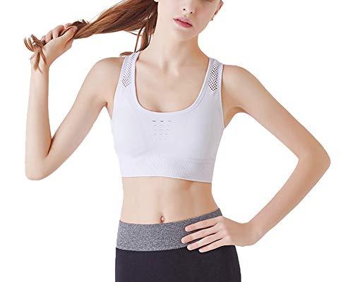 Sujetador Deportivo para Mujeres Sin Costuras Yoga Racerback Top con Relleno Corriendo Gimnasio Ropa Blanco M