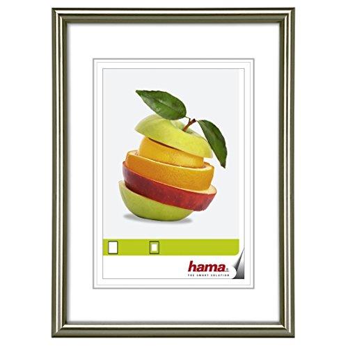 Hama Sevilla Bilderrahmen, DIN A4 (21 x 29,7 cm) mit Passepartout 15 x 20 cm, hochwertiges Glas, Kunststoff Rahmen, zum Aufhängen, grau