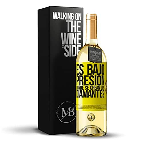 «Es bajo presión donde se crean los diamantes» Mensaje en una Botella. Vino Blanco Premium Verdejo Joven. Etiqueta Amarilla PERSONALIZABLE.