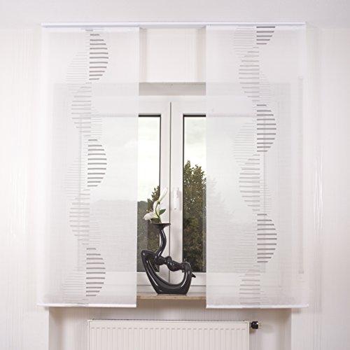 2er Set Schiebegardine Flächenvorhang inkl. Zubehör (in versch. Längen) Ira II, Farbe:weiß-grau, Vorhanglänge:140 cm, Farbe Paneelwagen:Weiß