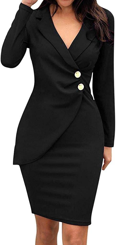 PASHY Women V Neck Wrap Dress Plus Size Sexy Long Sleeve Solid Color Bodycon to Work Formal Business Office Suit Dresses