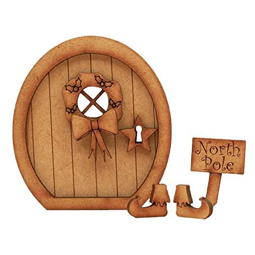 SHINEHUA Beliebteste Wichteltür, Feentür, Elfentür aus Holz Zum öffnen mit Lustigem Wichtel,Spielhausdekorationstür Basteltür 3D-Deko zur Elfentür Wichteltür Set (Einheitsgröße, stil-32)