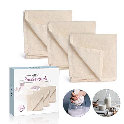 AIEVE Filter Cloth, 3er Set Käsetuch Siebtuch Passiertuch Filtertuch Baumwolle Tuch Wiederverwendbar für Nussmilch Suppe Obstsaft joghurt zur Käseherstellung(50 X 50cm)