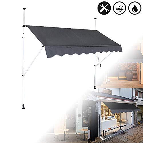 Aufun Klemmmarkise Einziehbar Manuell 350cm Dunkelgrau Balkonmarkise ohne Bohren Markise Sonnenschutz aus Polyester UV-Beständig und Höhenverstellbar, 350 x 120 cm